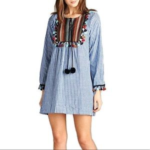 Pin Striped Tassel Yolk Long Tunic